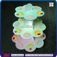 TSD-C110 Customized retail store 3 tier cardboard cake pop stand/carton counter display/3 tiered cardboard cupcake stand