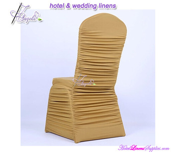 brown fancy chair covers with spandex ruched pleats for banquet chairs