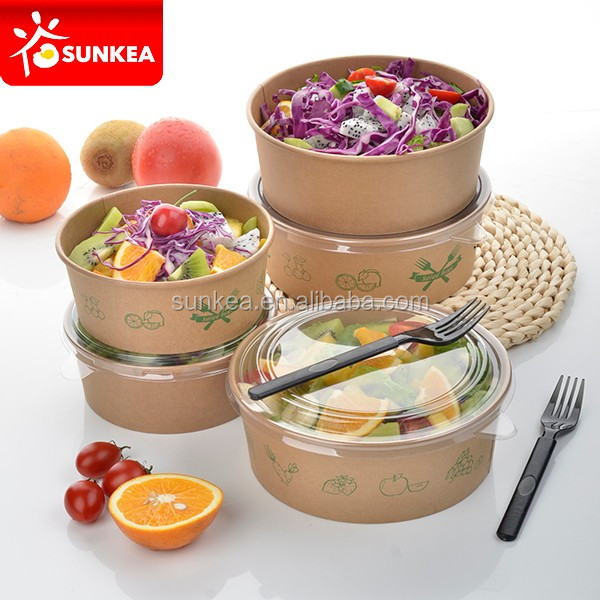Single use paper take away salad bowl with plastic lid