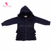 navy girls ruffle fall winter baby clothes hooded coats kids jackets