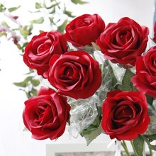 China Real Touch Giant Red Rose Silk Artificial Flower Arrangements Decotation Flower