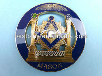 Gold soft enamel Masonic car emblem with adhesive
