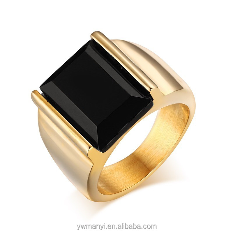 White gold platinum plated cheap price fashion wholesale black stone rings for men R0344