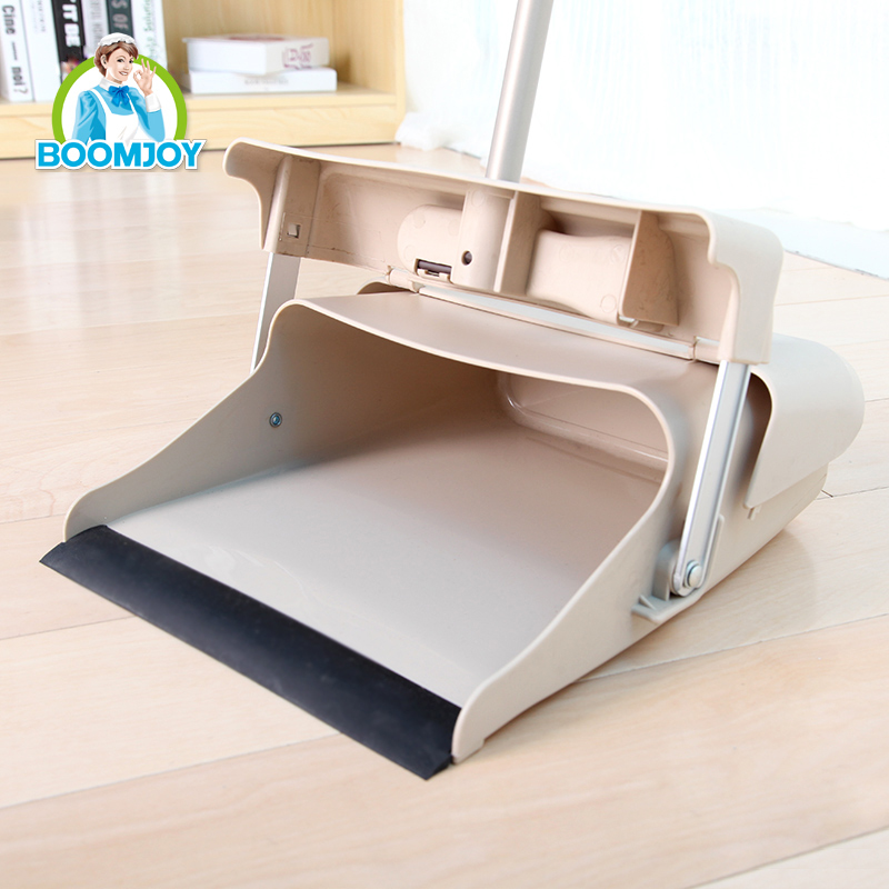 Boomjooy windproof design folding broom and dustpan set for indoor or outdoor cleaning.
