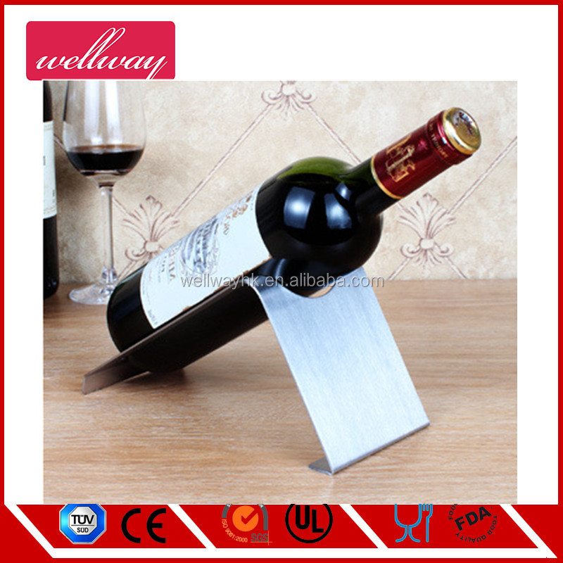 Custom design table top stainless steel single bottle wine rack