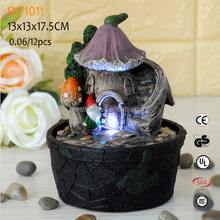 Mini resin earthen jar decorative battery operated lighting indoor statues water fountain