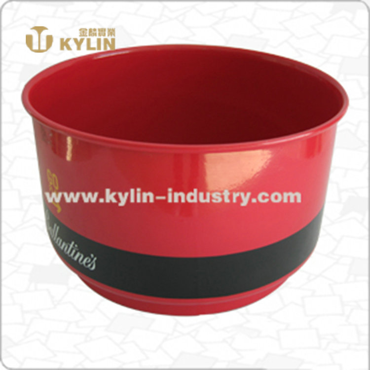 New high quality round portable red metal ice bucket