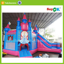 cheap inflatable princess bouncy castle with water slide