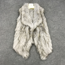 SJ026 Gray Color Cropped Collar Stylish Raccoon Fur Waistcoat for Outwear with Real Fur