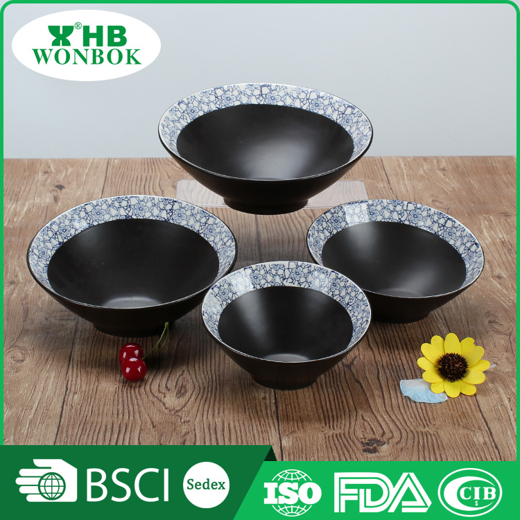 Durable household black japanese ceramic noodle bowl dinnerware
