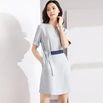 Elegant V neck women solid color design dress with tie belt