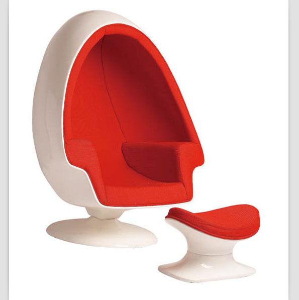 Fabric leisure Egg Pod Speaker Lee West Stereo Alpha Egg <strong>Chair</strong> with Ottoman