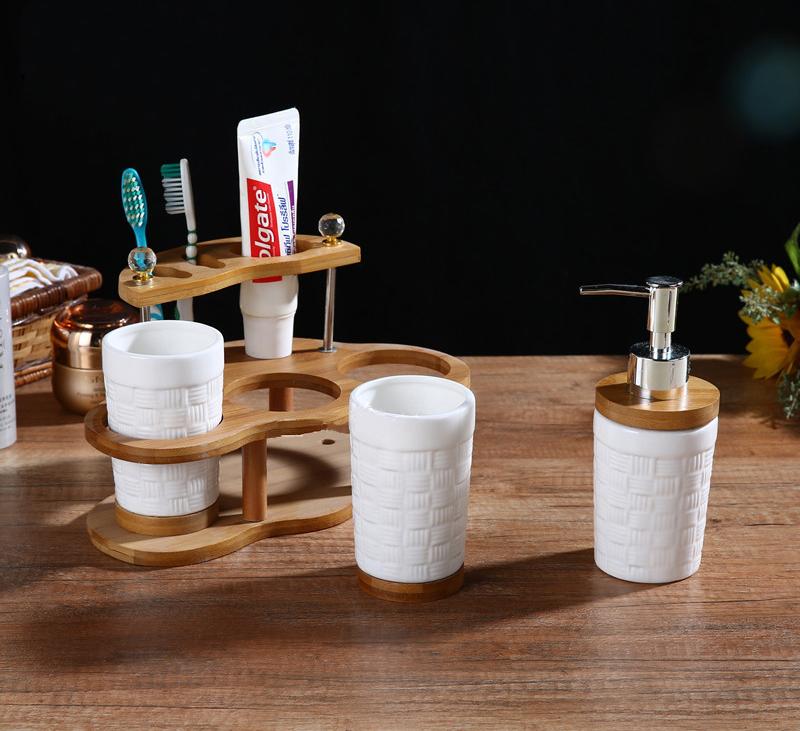 Wooden Bamboo Hotel Home Bathroom Accessories Set Ceramic Bathroom Set Buy Bathroom