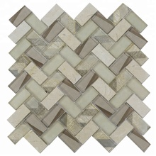 New Arrival Laminated Glass Herringbone Mosaic Tile For Wall