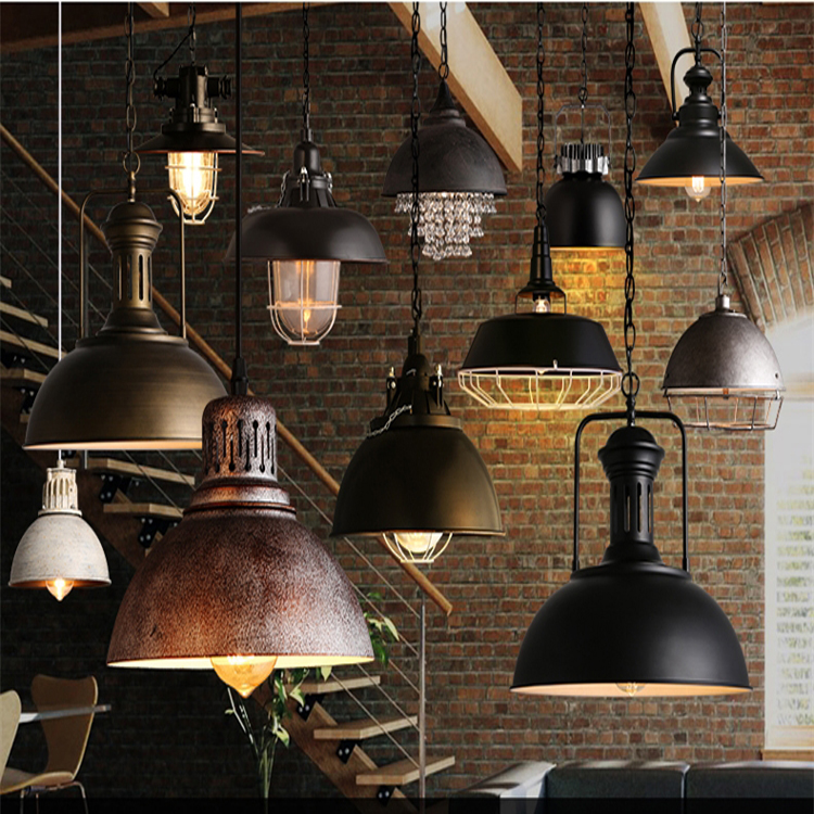 Rural 1 pcs light source wrought iron old fashioned industrial lights lighting pendant shade for bar counter
