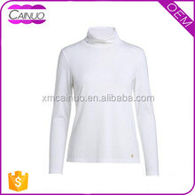 Custom Cotton Turtleneck Women Long Sleeve T-Shirt Printing Machine
