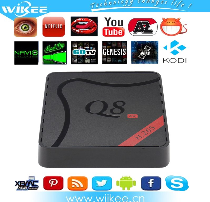 Private Mold Q8 IPTV Set Top Box Amlogic S905 Quad-Core Android 5.1 Smart Ott TV Box with Full Loaded Add-ons 1G/8G