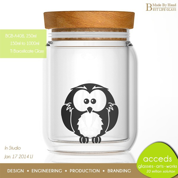 Superior Quality Various Optional Handblown Borosilicate Glass Jar With Wooden Top