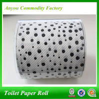 Manufacturer 10*10cm balck dot white paper printed customized toilet paper roll tissue