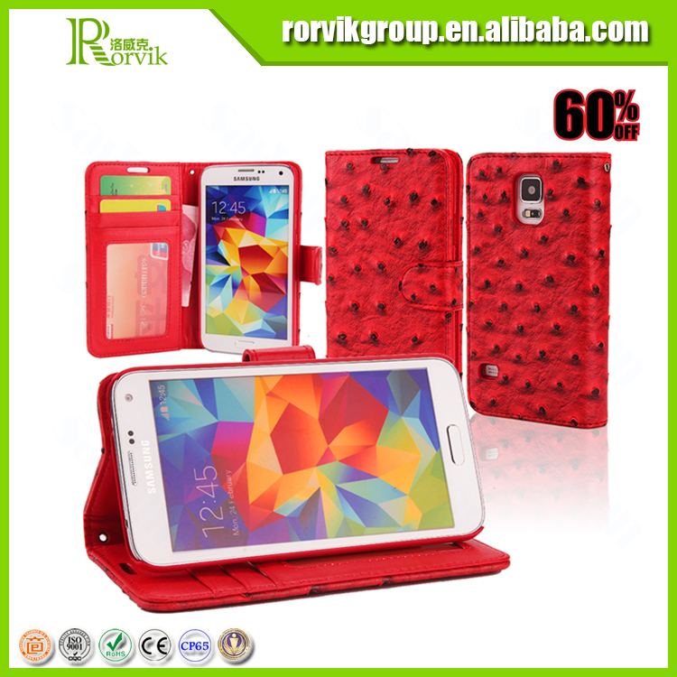 fake ostrich leather bag and plastic phone case for samsung i9600 s5