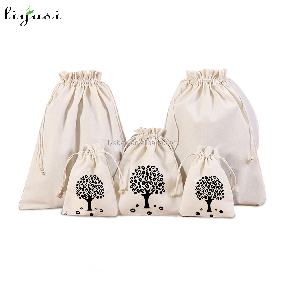 Organic Cotton Drawstring Shoes Bag with Printed Logo