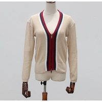 Latest color combination lady girls zipper up cardigan sweater