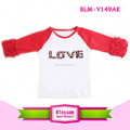 Baby Clothes Icing Basebal raglan icing ruffle shirts Valentine's Day raglan shirt with ruffle sleeve