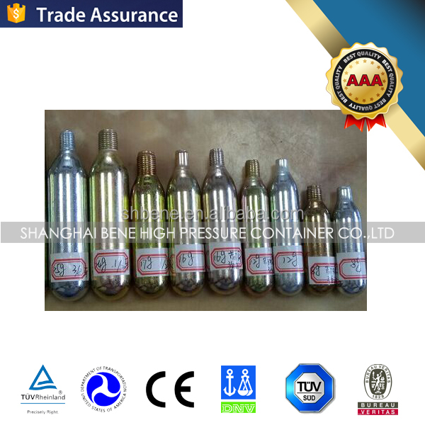 Mini Co2 cartridge Disposable Co2 tank CO2 cylinder Good Price for paintball gun/ Soda water maker/Swimming ring
