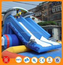 0.55mm pvc tarpaulin from China factory commercial inflatable slide giant inflatable water slide for sale