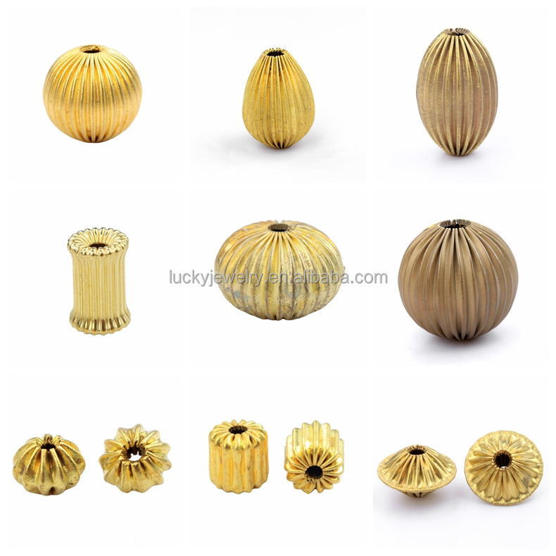 high quality bracelet findings corrugated raw material brass metal cheap loose beads for necklace