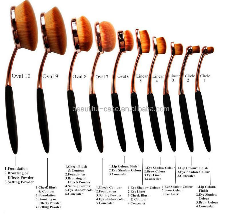 10pcs Oval Makeup Brush, Cosmetic Foundation Beauty Makeup Brush Tools