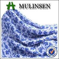 Mulinsen Textile Hot Sell Blue Floral Printed Plain Woven 100% Viscose Rayon Challis Fabric