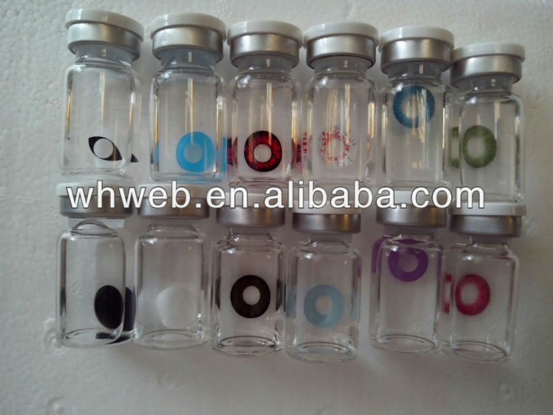 Wholesale and cheap glass vial contact lenses cosmetic plano soft eye contact lens