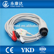 YKD 3 leads ECG Trunk Cable for PM9000,PM8000,PM7000 ,AHA,snap,6pin