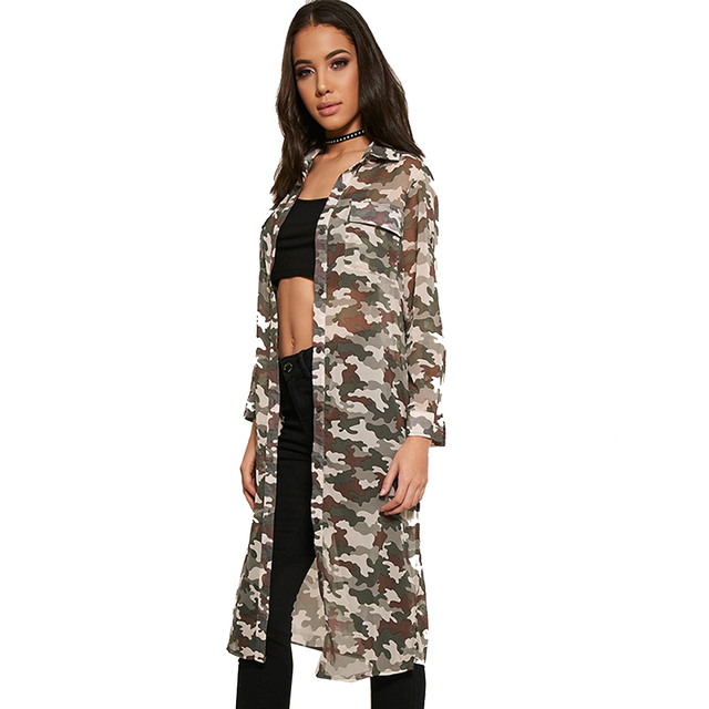 Women Autumn Shirt Camouflage Long Sleeve Elegant Slim Streetwear Long Shirt Casual Basic Thin Blouse Cloak Kimono Sun-proof