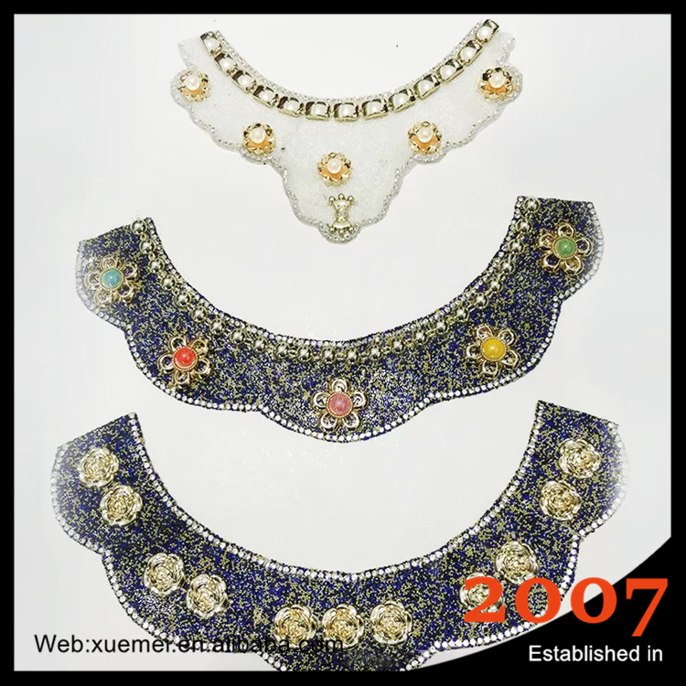 High Quality Bridal flower trimming clear crystal rhinestone applique with pearls hot fix for wedding dress accessory