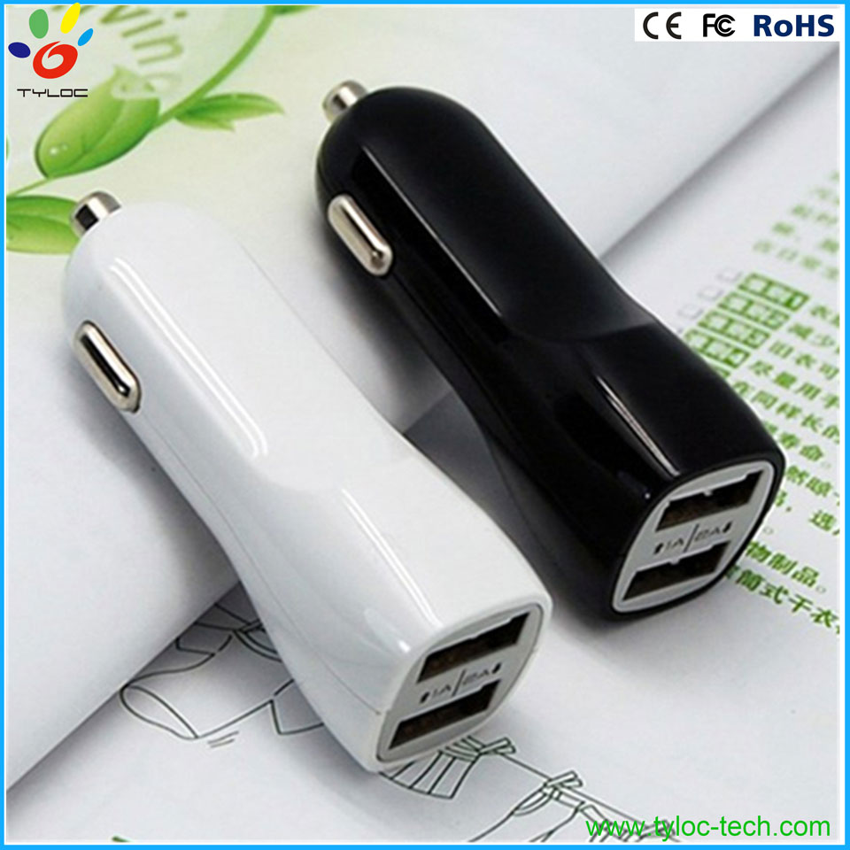 Universal portable 2 port USB holder cell phone mount car charger for iphone 6