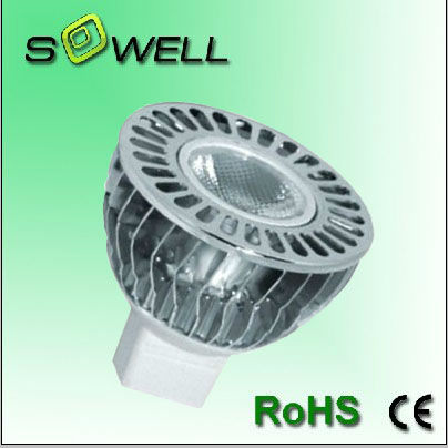 Dimmable AC85-240V 3W MR16 250LM 50*47.6mm 6000K LED spot Lamps