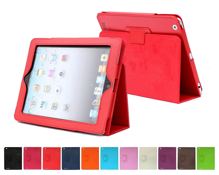 Luxury Lichee Pattern PU Leather Stand Colorful Smart Folio Cover Tablet Case for iPad Mini 1 2 3 with Photo Frame