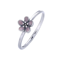 Pure 925-Sterling-Silver Rings With Pink Enamel Silver Party Rings For Fashion Women Jewelry Making Wholesale Rings