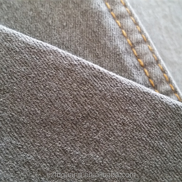 7.5OZ cotton <strong>poly</strong> stretch woven grey color denim fabric