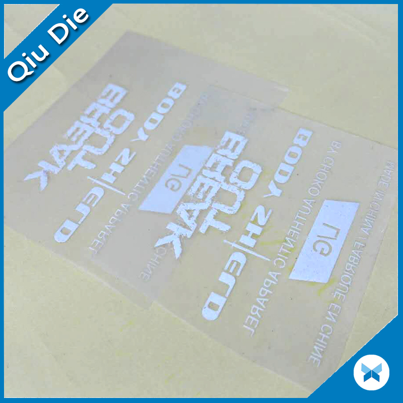 Custom Pvc And Pu Flex Flock Sizing Heat Transfer Film Tag For Clothing