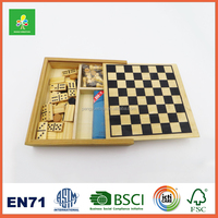 Wooden chess games,travel size board games,5 in 1 mini chess set