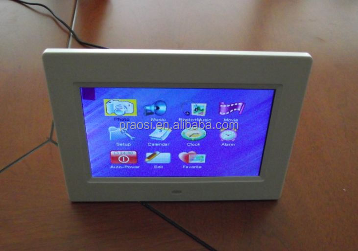 7 inch hd lcd digital photo frame with motion sensor (option)video player support push button