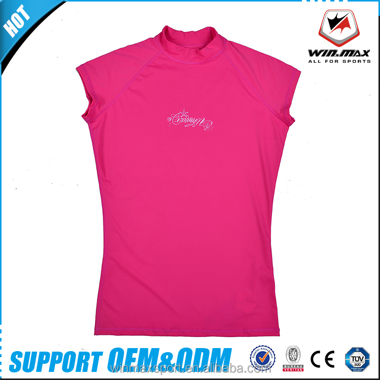 Winmax custom printed anti-UV protective fabric sleeveless women rash guard
