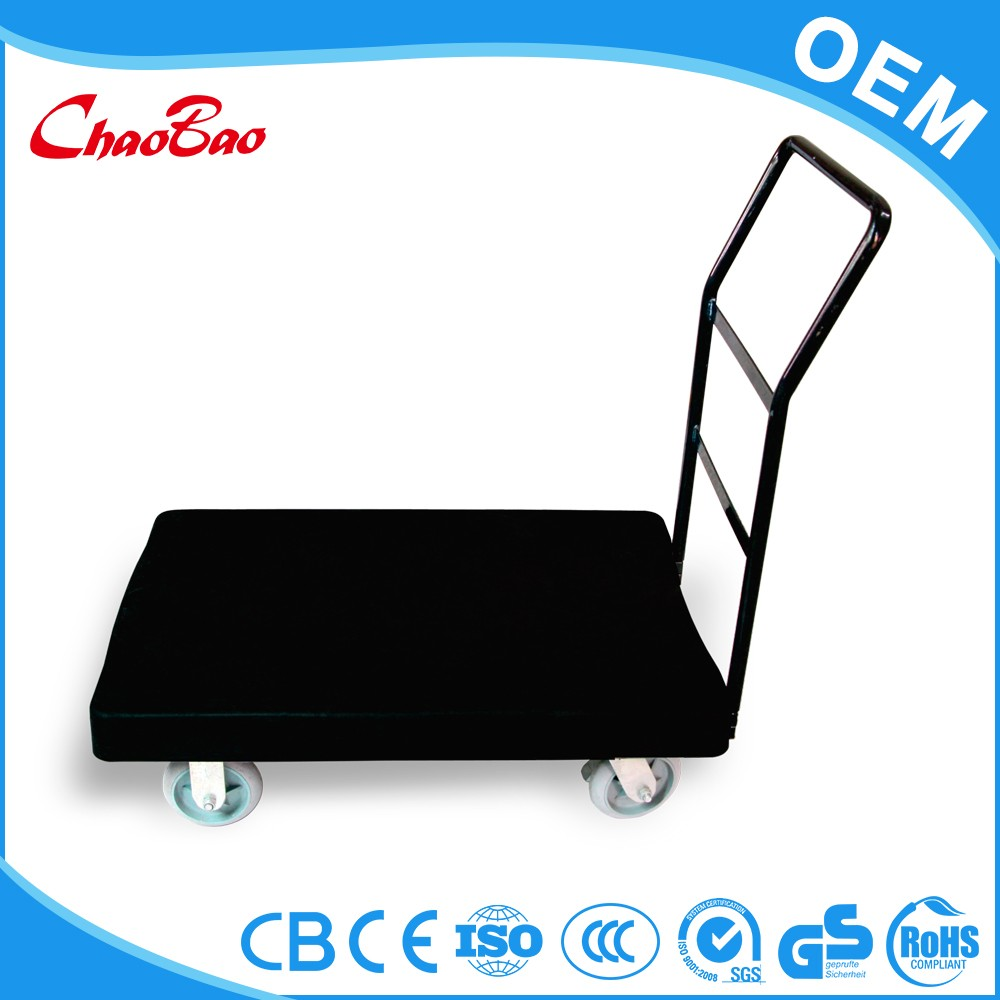 4 wheels folding kitchen platform flatbed steel push carts