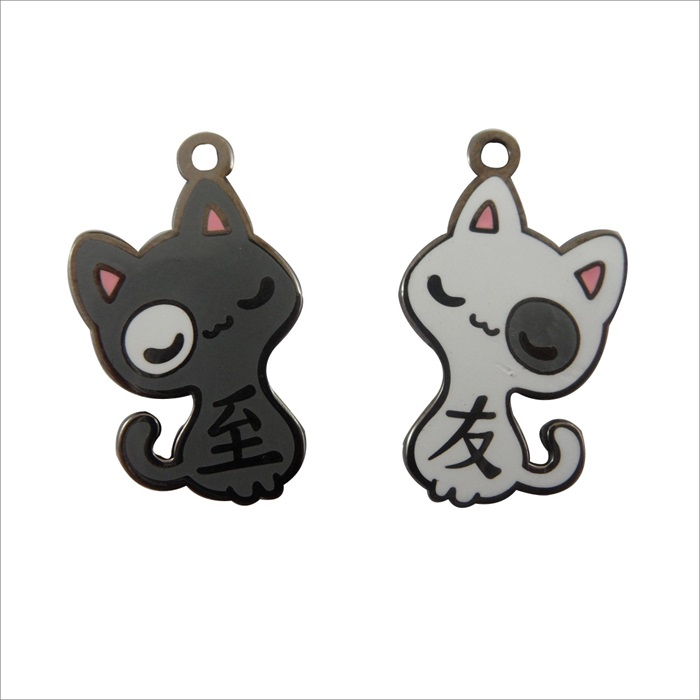 Custom Cute Black and White Cats Charm