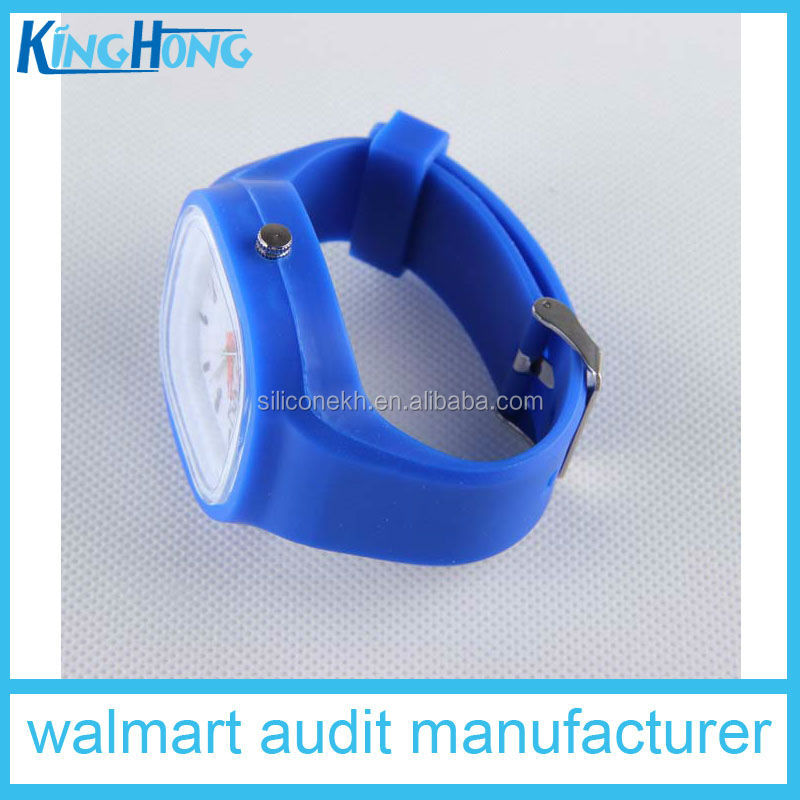 promotional LlED silicone jelly wristwatch with quartz movement & stainless steel back