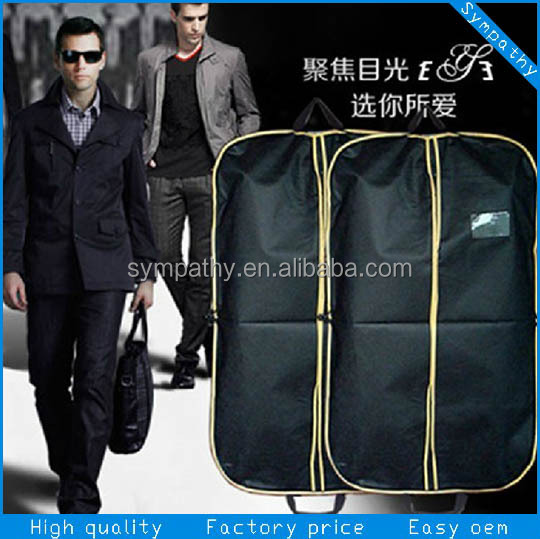 large size printed grey foldable handle non woven garment bag, suit cover