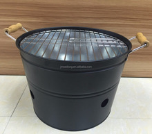 High Quality Black Charcoal Barbecue Bucket Camping BBQ Grill with Bamboo Handles